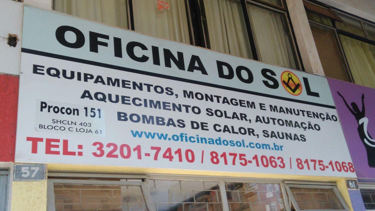 Oficina do Sol, Equipamentos, montagem e manutenção, aquecimento solar, automação, bombas de calor, saunas, CLN 403, Norte, Bloco C, Asa Norte, Comércio Brasilia