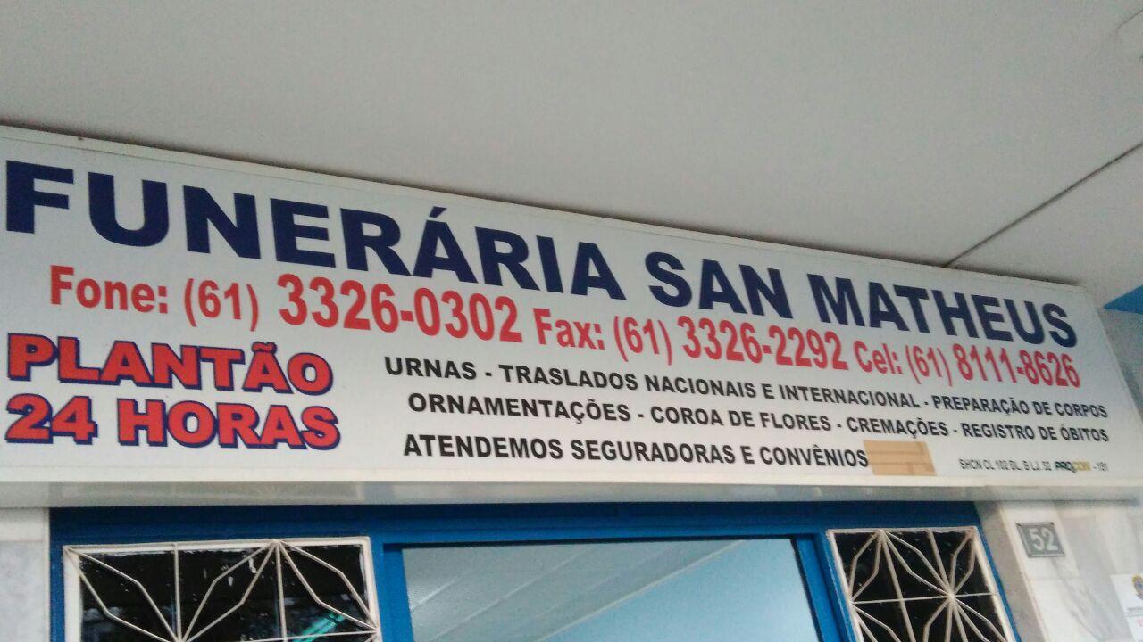 Funerária San Matheus, CLN 102, Bloco C, Asa Norte, Comércio Brasilia