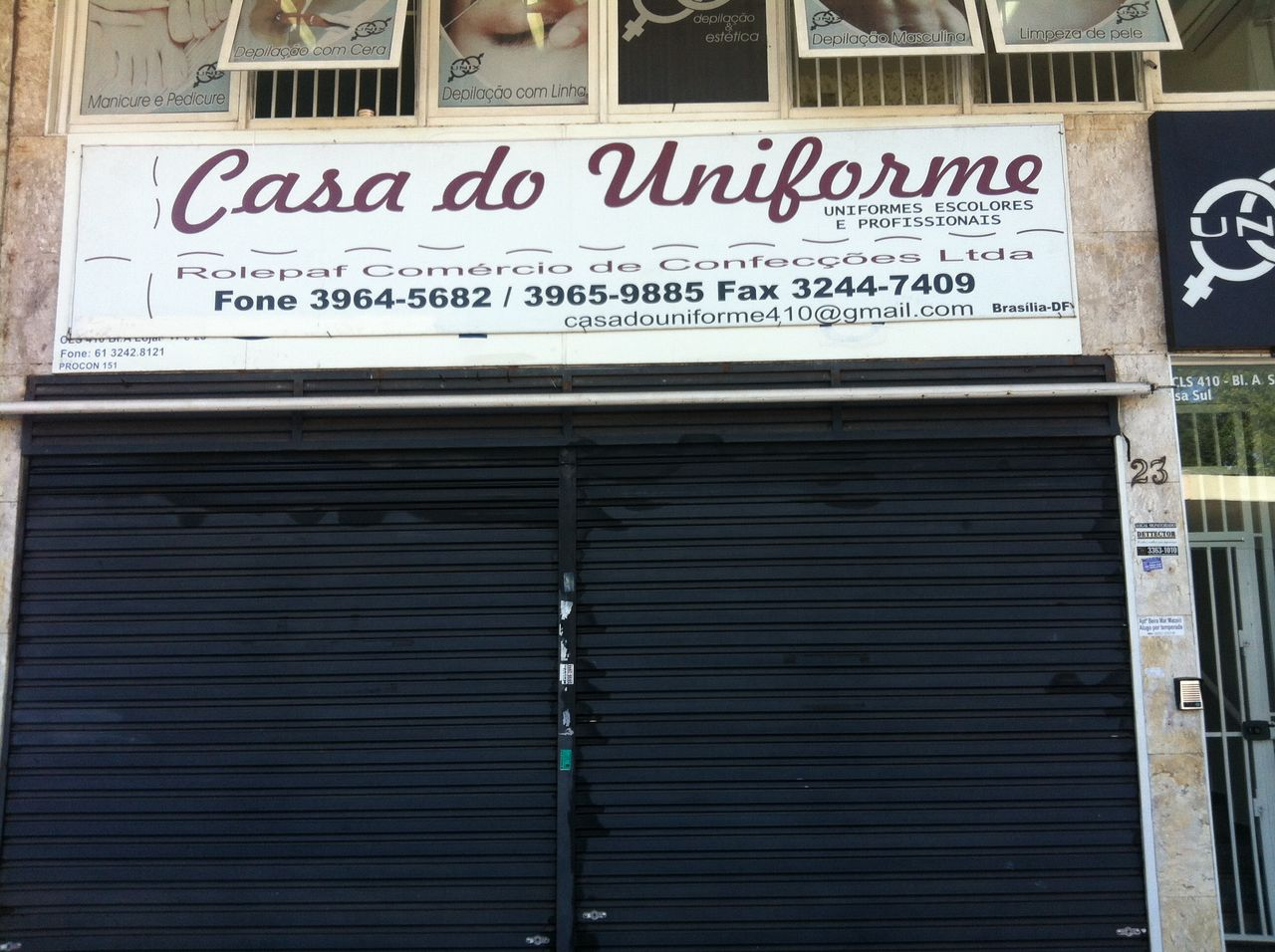 Casa do Uniforme, uniformes profissionais e escolares, CLS 410, Bloco A, Loja 23, Asa Sul, Comércio Brasilia