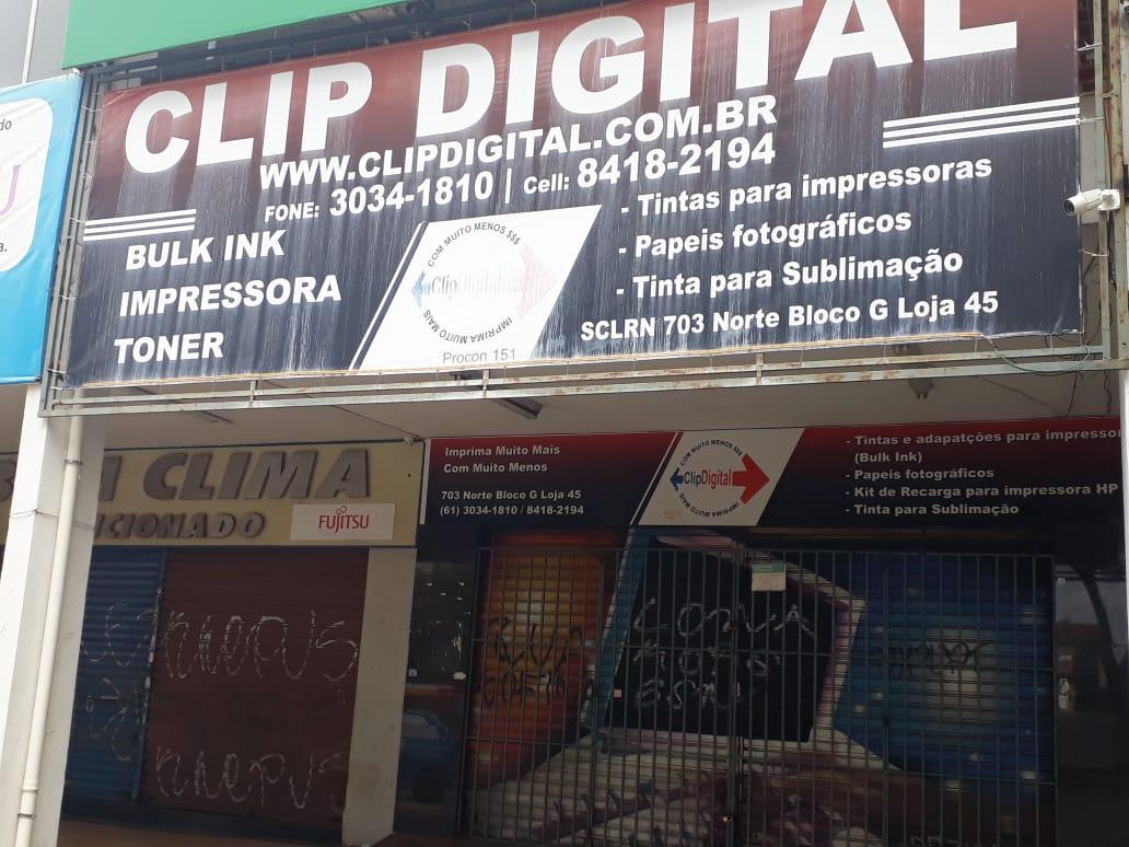 Clip Digital, Bulk In, impressora, toner, tintas para impressoras, papeis fotográficos, tintas para sublimação, Quadra 703 Norte, Bloco G, W3 Norte, Asa Norte, Comércio Brasilia
