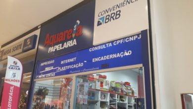 Aquarela Papelaria BRB Conveniência JK Shopping, Avenida Hélio Prates, Taguatinga Norte, Comércio de Brasília, DF