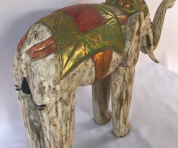 Elefante Branco em Madeira Teca 59cm, Satyam Imports 2, Comercio Brasilia