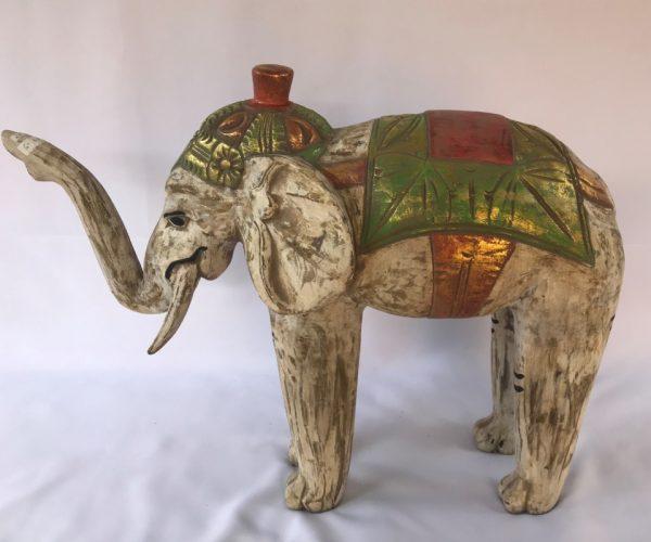 Elefante Branco em Madeira Teca 59cm, Satyam Imports, Comercio Brasilia