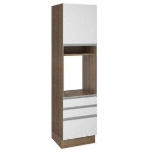 Torre Quente Madesa Glamy 60 cm 1 Porta 3 Gavetas Rustic/Branco
