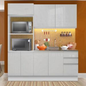 Cozinha Compacta Madesa 100% MDF Acordes 2 Gavetas 8 Portas Branco Brilho