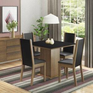 Conjunto Sala de Jantar Madesa Roma Mesa Tampo de Madeira com 4 Cadeiras Rustic/Preto