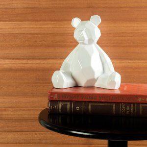 Enfeite de Cerâmica Teddy Branca 19cm
