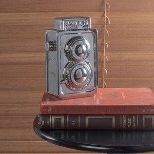 Enfeite de Cerâmica Filmadora Prata 18cm
