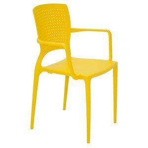 Cadeira com Braço Téia de Polipropileno Amarela