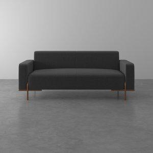 Sofá de 3 Lugares Hagane Cinza Escuro 208cm