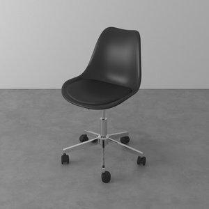 Cadeira Giratória com Assento Estofado Eames Preta