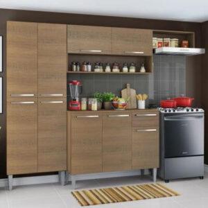 Cozinha Compacta Madesa Emilly Top com Armário e Balcão Rustic