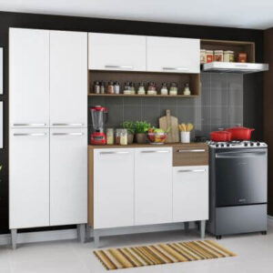 Cozinha Compacta Madesa Emilly Top com Armário e Balcão Rustic/Branco