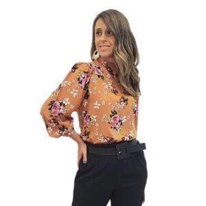 Camisa Chocker Maxi Punho Mania Sophia Jardim Feminina - Feminino-Marrom