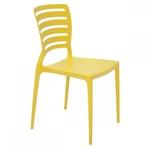 Cadeira Tramontina Sofia Amarela sem Braços Encosto Vazado Horizontal