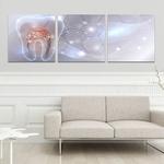 Quadros Decorativos Odontologia Dente Mosaico 135x45 cm Mosaico 3 telas Consultório Dentista