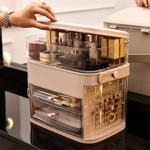 Caixa de armazenamento de cosméticos portátil Porta giratória Tipo Multi-Layer Folding Jewelry Box Organizer Holder