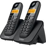 Telefone Sem Fio Intelbras TS3112 ID Com 2 Ramais Preto