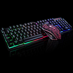 Jogo Luminous Wired Mouse USB Suit teclado com arco-ªris luzes LED Backlight