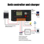 Controlador de carga solar, regulador de painel solar 10A, controlador de geração de energia fotovoltaica, desempenho estável e durável, com tecnologi