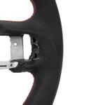 Volante em fibra de carbono Volante em couro pré-perfurado com fundo plano tipo D de corrida projetado com costura adequada para Mustang EcoBoost gt S