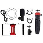 Smartphone Vídeo Rig + Anel selfie Light + microfone + tripé Kits-compra internacional pode ser cobrada imposto