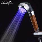 Xueqin Banheiro LED Cabeça de Chuveiro Sensor de Temperatura Portátil LED Colorido Anion Luz spa Filtro de Banho Pulverizador Pressurizado