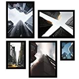 Conjunto Arquitetura Prédios Kit Com 5 Quadros Decore Pronto Multicor Médio