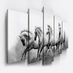 Conjunto 5 Quadros Decorativos Mosaico Caixa Alta Cavalos Branco Animal Rural Equinos Inteior Campo Fazenda Sitio Chacara Roça Preto E Branco