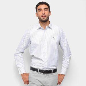 Camisa Aleatory Listrada Masculina - Masculino-Cinza