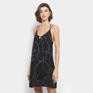 Vestido Lança Perfume Curto Apliques Bordado - Feminino-Preto