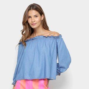 Blusa Lança Perfume Jeans Ciganinha Feminina - Feminino-Azul