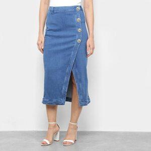 Saia Jeans Lança Perfume Midi Botões Fenda - Feminino-Azul