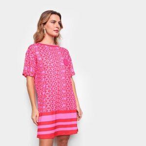 Vestido T-Shirt Lança Perfume Curto Correntes  - Feminino-Pink