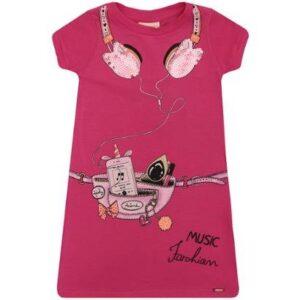 Vestido Infantil Animê Cotton Music Fashion - Feminino-Pink