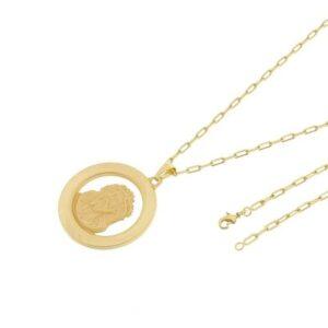 Kit Medalha Face de Cristo Tudo Joias com Corrente Cartier Longa 2mm e 60cm Folheado a Ouro 18k - Unissex-Dourado