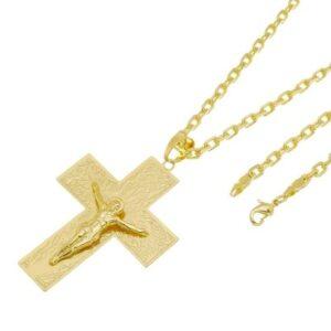 Kit Pingente Cruz com Corrente Tudo Jóias Cartier Diamantada Folheado a Ouro 18k - Unissex-Dourado