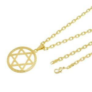 Kit Pingente Estrela de Davi com Corrente Tudo Jóias Cartier Diamantada Folheado a Ouro 18k - Unissex-Dourado
