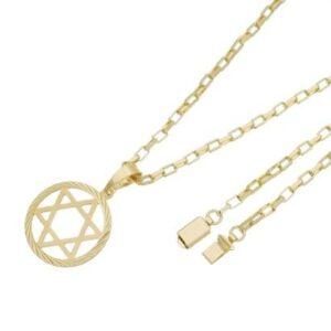 Pingente Estrela de Davi Com Corrente Cartier Gaveta Tudo Joias Folheado a Ouro 18k - Masculino-Dourado