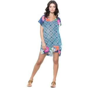 Saída de Praia 101 Resort Wear Fenda Azulejo - Feminino-Branco+Azul