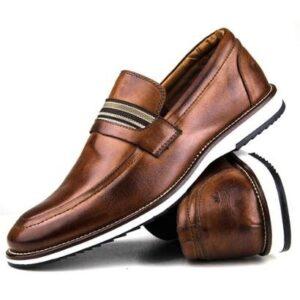 Sapato Loafer Couro Tchwm Shoes Masculino Conforto Brogue - Masculino-Marrom