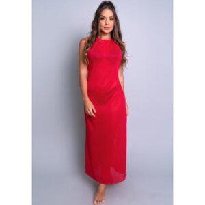 Saída De Praia Longa Banho Vestido Moda Praia Mvb Modas Feminina - Feminino-Vermelho