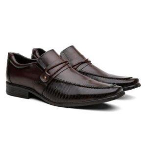 Sapato Social  Proença Bico Quadrado Elegante Masculino - Masculino-Café
