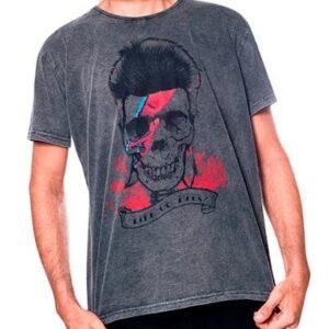 Camiseta Estonada Skull Bowie Liverpool Masculina - Masculino-Preto
