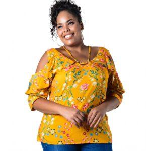 Blusa Plus Size Ombros Vazados Floral Lenner Plus Size
