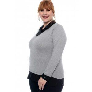 Blusa Viscolycra Bicolor Lenner Plus Size