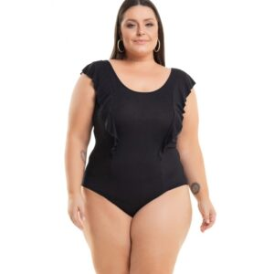 Body Viscolycra Preto com Babado Miss Masy Plus Size
