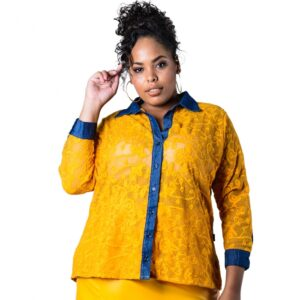Camisa Plus Size de Renda Amarelo Lenner Plus