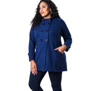 Casaco Plus Size Lã Batida Azul Lenner Plus