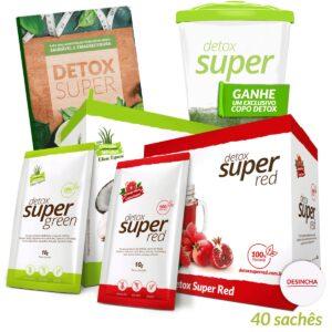 1 caixa Detox Super Green (Edição Especial) + 1 caixa Detox Super Red + Livro de Receitas Digital (Brinde Copo)